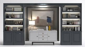 现代书柜电视柜组合