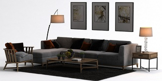中式L型沙发挂画组合
