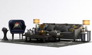 现代茶几单椅沙发组合