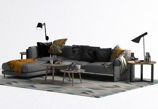 现代L型沙发组合
