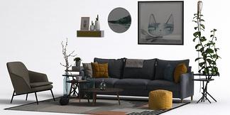 北欧风格壁饰沙发组合
