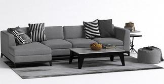 现代灰色简约沙发组合