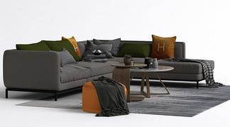 现代L型休闲沙发组合