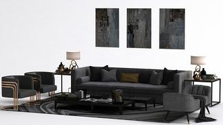 现代高级灰挂画沙发组合