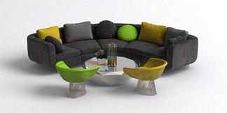 北欧弧形沙发组合