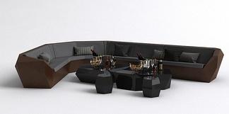 现代KTV沙发茶几组合