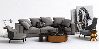 现代沙发落地画组合