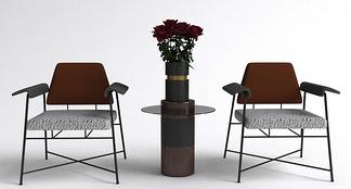 现代单椅茶几组合