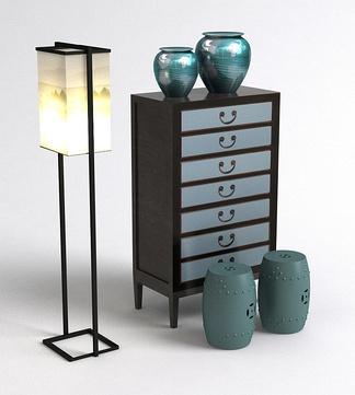 中式落地灯凳子柜子