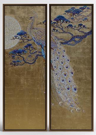 中式孔雀挂画