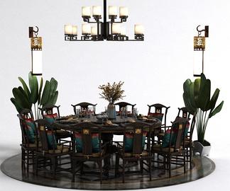 中式吊灯餐桌椅