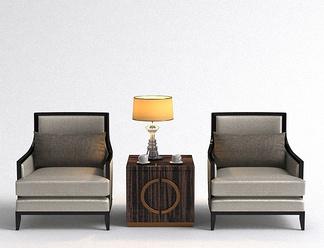 现代单椅边几组合