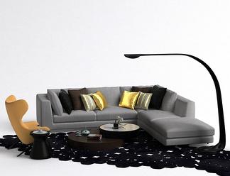现代L型沙发落地灯组合