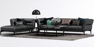 现代皮质沙发组合