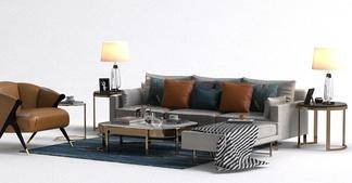 现代单椅沙发组合