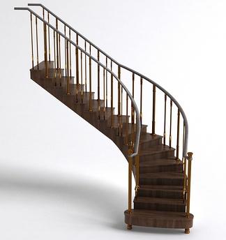 现代铁艺扶手木地板楼梯