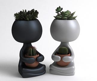 现代陶瓷小人盆栽