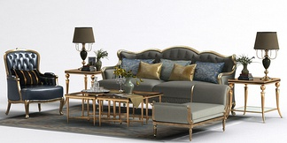 新古典轻奢沙发茶几组合