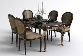欧式圆背餐桌椅组合