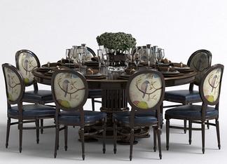 欧式多人餐桌椅组合