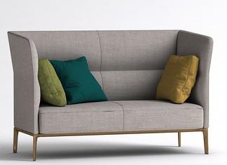 现代布艺高背沙发
