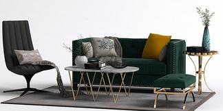 现代沙发单椅组合