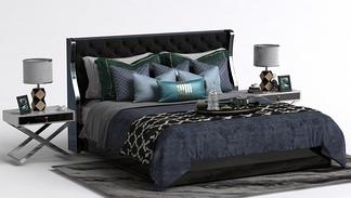 新古典床头柜床组合