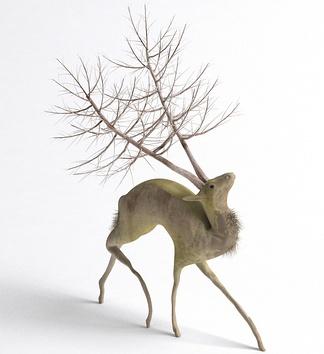 木质鹿雕塑