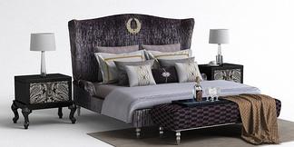 美式床尾凳床组合
