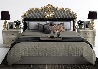 欧式雕花床头柜床组合