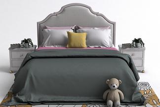 简美床头柜床组合