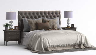 美式床头柜床组合