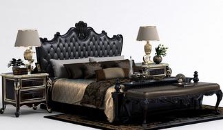 欧式床尾凳床组合