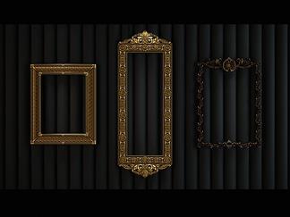 欧式金属相框镜框组合3D模型
