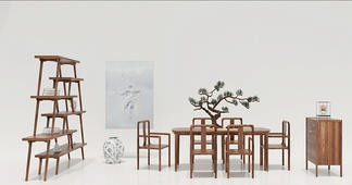 中国 多少 新中式餐桌椅餐边柜3D模型