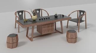 中国雅宝新中式茶桌椅组合3D模型