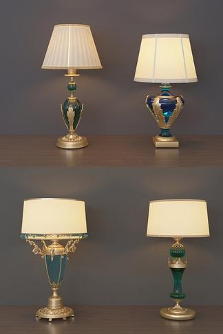 美式水晶复古台灯组合