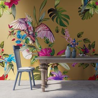 彩色花鸟手绘墙实景