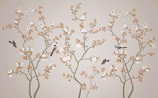 中式花鸟背景墙