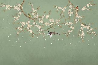 中式花鸟绿色背景墙