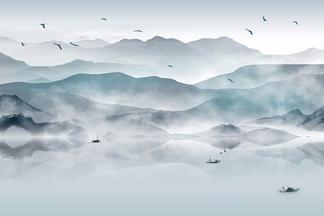 中式水墨山水画