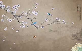 中式花鸟咖色背景墙