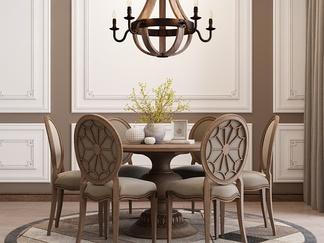 实木美式餐桌椅组合