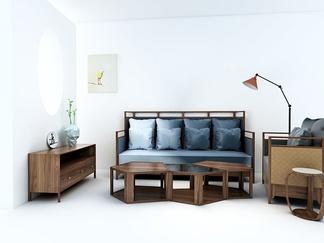 中国 多少 现代新中式沙发组合3D模型
