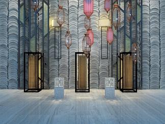 中式瓦片背景墙落地灯
