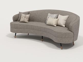 现代弧形沙发