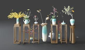 中式花架瓷器花瓶花卉组合