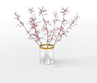 现代玻璃花瓶花卉