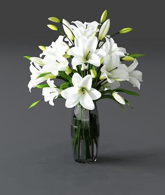 现代玻璃花瓶百合花卉