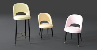 现代轻奢吧椅组合